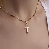 Золотой крестик в комбинированном цвете Духовный щит