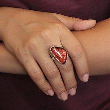 Серебряное кольцо Пламя с имитацией опала