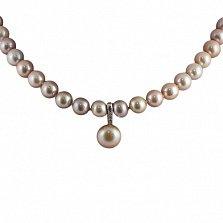 Ожерелье из фиолетового жемчуга Ундина с фианитами на серебряной вставке