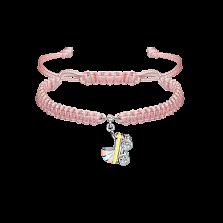 Детский плетеный браслет Коляска с эмалью и фианитом, 10-20см