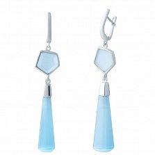 Серебряные серьги-подвески Кристэлл с голубым улекситом
