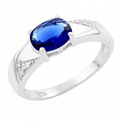 Серебряное кольцо с синтезированным сапфиром и фианитами 000055663