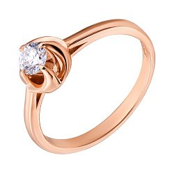Помолвочное кольцо в красном золоте с бриллиантом в закрученном касте 000070645