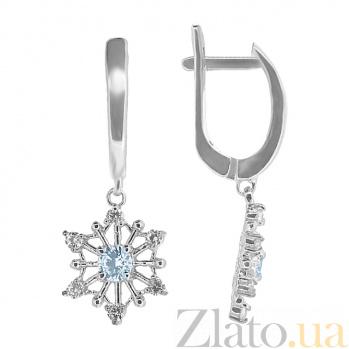 Серебряные серьги с бриллиантами и топазами Снежанна ZMX--EDT-6968-Ag_K
