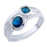 Серебряное кольцо Стеффи с синтезированным сапфиром и фианитами