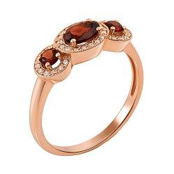 Кольцо из красного золота с рубинами и бриллиантами 000147451