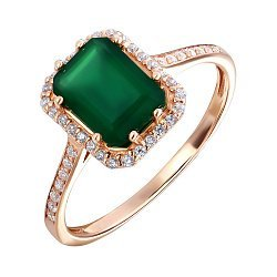 Кольцо из красного золота с агатом и фианитами 000135609