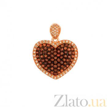 Подвеска Сияние сердца из красного золота VLT--Т3359-2