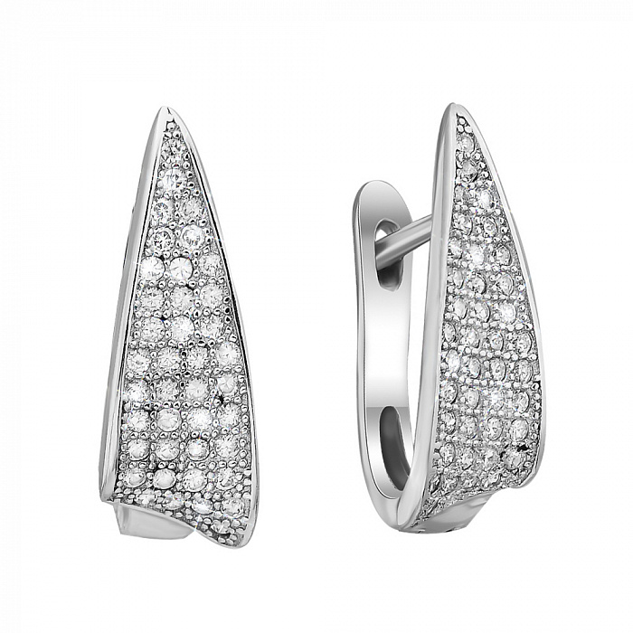 Серебряные серьги Волна с фианитами 000079022