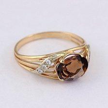 Золотое кольцо с раухтопазом и фианитами Айла