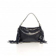 Кожаный клатч Genuine Leather 8466 темно-синего цвета с бахромой и короткой ручкой