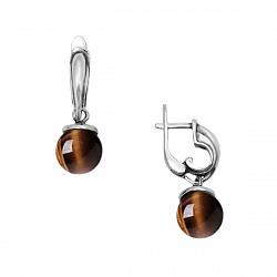 Серебряные серьги-подвески Беретки с тигровым глазом 000060077