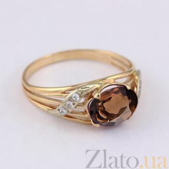 Золотое кольцо с раухтопазом и фианитами Айла VLN--112-137-22