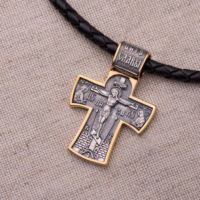 Серебряный крестик Святое Распятие и Ангел Хранитель с позолотой и чернением 000080241