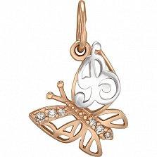 Золотой подвес Бабочка Буква В с фианитами
