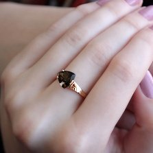 Кольцо в красном золоте Марта с раухтопазом и фианитами
