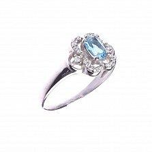 Серебряное кольцо Эмми с цветком из лондон топаза и фианитов