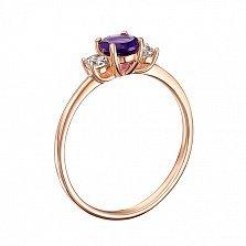 Кольцо в красном золоте Романтика с аметистом и фианитами