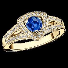 Сапфировое кольцо в лимонном золоте с микро-паве Dream n Love