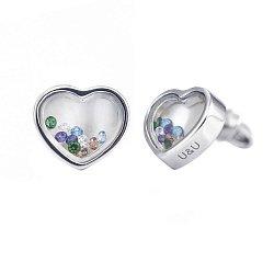 Серебряные серьги-пуссеты Сердце большое с цветными плавающими фианитами, 10x10мм