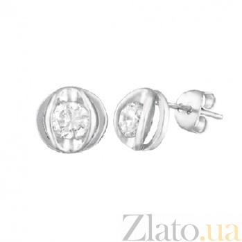 Серебряные сережки-гвоздики с цирконием Бетси SLX--СК2Ф/413