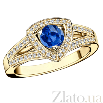 Сапфировое кольцо в лимонном золоте с микро-паве Dream & Love R-BDL-E-sap-diam