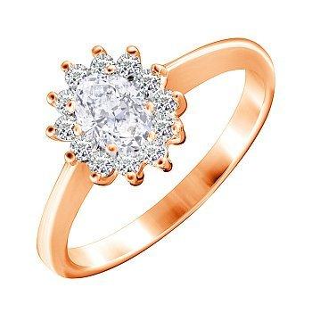 Позолоченное серебряное кольцо с белыми фианитами 000028402