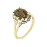 Золотое кольцо с раухтопазом и бриллиантами Флорентина