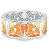 Обручальное кольцо из белого золота с эмалью Талисман: Добра