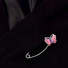 Серебряная булавка Милая бабочка с розовой эмалью