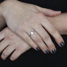 Серебряное кольцо Яблочко с белой эмалью