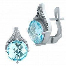Серебряные серьги Марлена с голубым топазом и фианитами