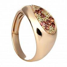 Золотое кольцо с хризолитом и турмалинами Тэсс