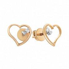 Золотые серьги-пуссеты Нежное чувство с бриллиантами