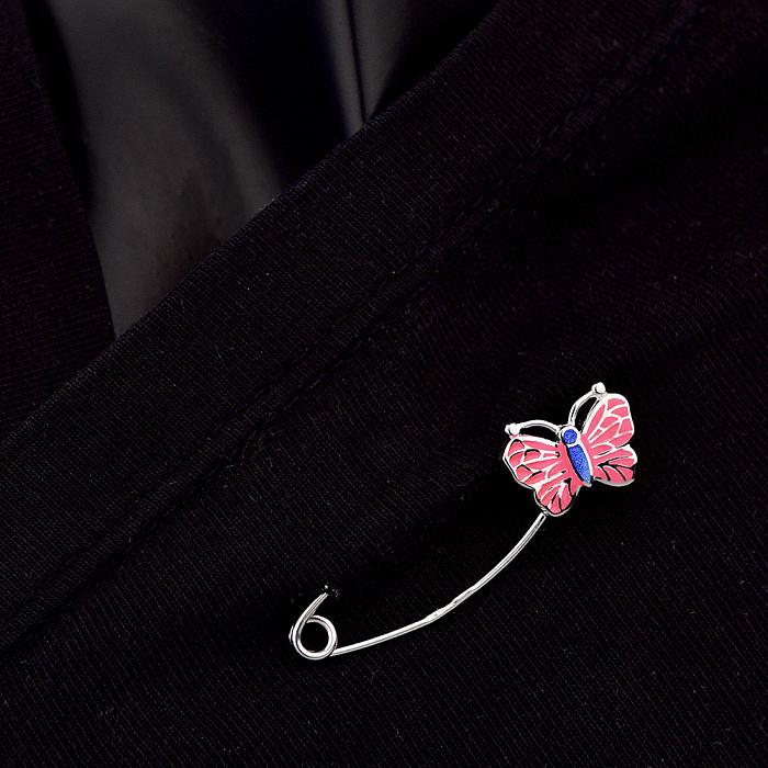Серебряная булавка Милая бабочка с розовой эмалью 000113777