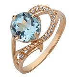 Золотое кольцо Джерди с голубым топазом и фианитами