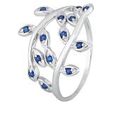 Серебряное кольцо с синими фианитами Лавр
