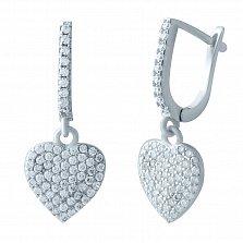 Серебряные серьги-подвески Сияние сердца с фианитами
