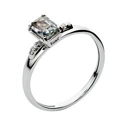 Кольцо из белого золота с цветным сапфиром и бриллиантами Лорен 000030343