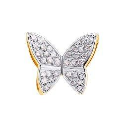 Подвес из желтого золота с бриллиантами Бабочка