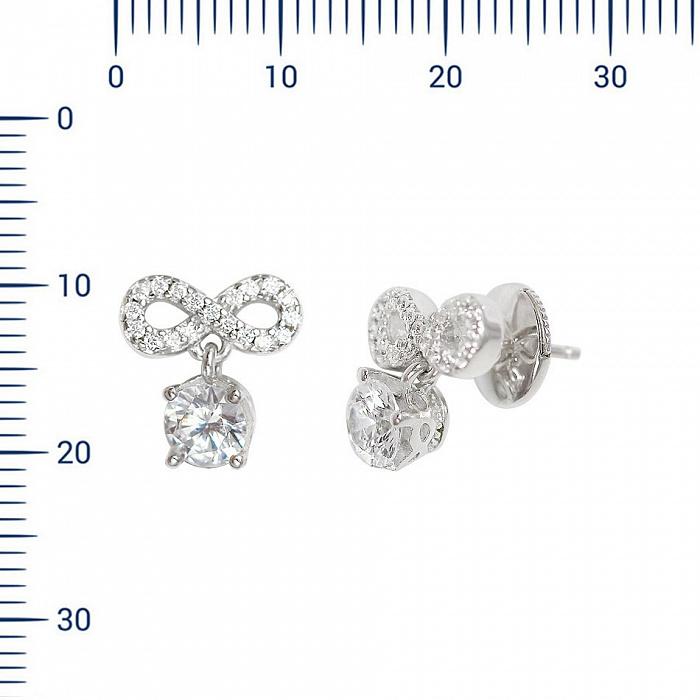 Серебряные серьги-пуссеты Девика с фианитами 000081942