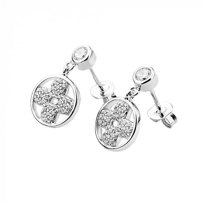 Серебряные серьги-подвески Ламара с фианитами в стиле Ван Клиф 000080164