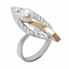 Серебряное кольцо с золотой вставкой, жемчугом и фианитами Комета
