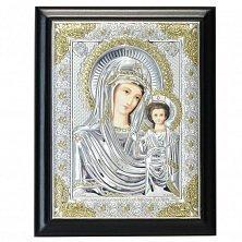Икона на деревянной основе Божья Матерь Казанская с эмалью и позолотой, 15х19