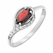 Серебряное кольцо Дайкири с гранатом и фианитами