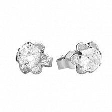 Серебряные серьги-пуссеты Цветочки с белыми фианитами