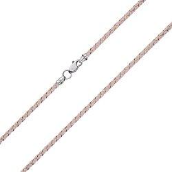 Бежевый шелковый шнурок Ветер с серебряным замком,2.5 мм