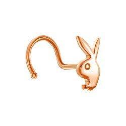 Пирсинг для носа  из красного золота в стиле Плей Бой 000138772