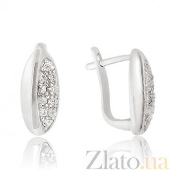 Серьги Королевские из серебра с цирконием 10030061