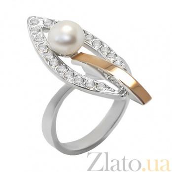 Серебряное кольцо с золотой вставкой, жемчугом и фианитами Комета BGS--205к